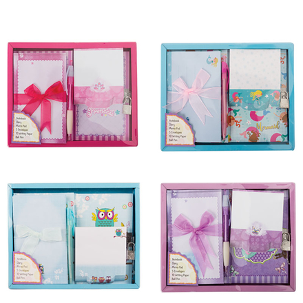Girls 5 Piece Floral Stationery Set