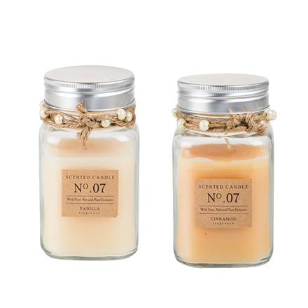 Scented Candle In Glass Jar Gift Box