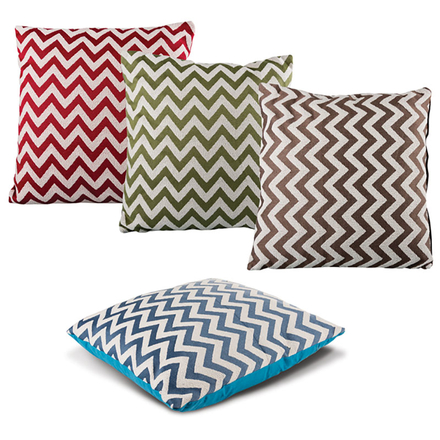 Chenille Cushion Zig Zag Pattern