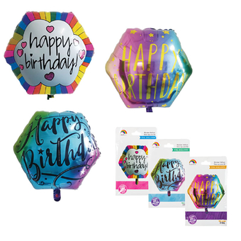 Foil Helium Chrome Happy B-Day Balloon