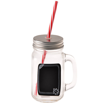 Glass Drinking Jar With Handle And Straw