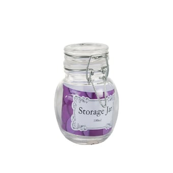 Glass Rounded Storage Jar With Clip-On