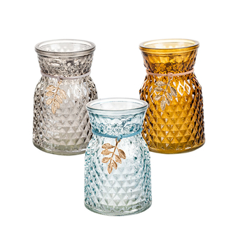 Colour Glass Vase With Decoration