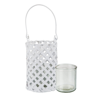 Glass Candle Holder In Rattan Basket