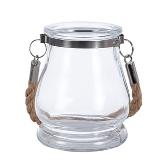 Glass Candle Holder With Jute Handle