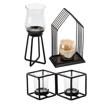 Metal Candle Holder With Glass Cup