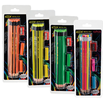 12 Bright Assorted Colour HB Pencil Set