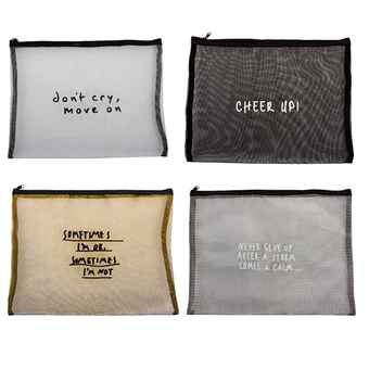 Mesh Cosmetic Bag With Sayings