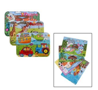 4-Piece Wooden Puzzle In Tin Box