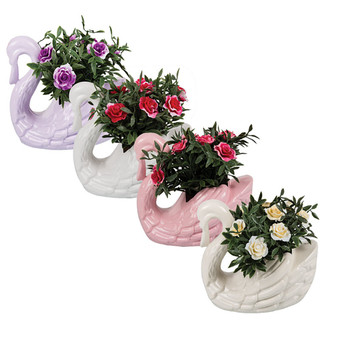 Artificial Flower Swan Pot