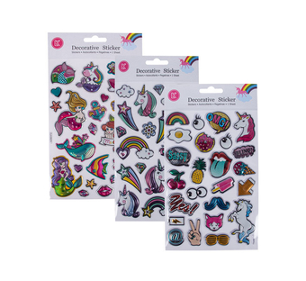 Embossed Foil Puffy Sticker Assorted