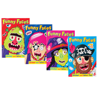 Funny Faces Sticker And Colour