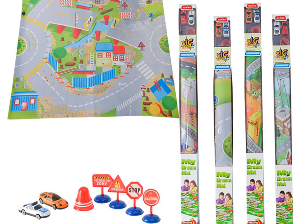 Playmat, 2 Cars & Road Signs - The Crazy Store